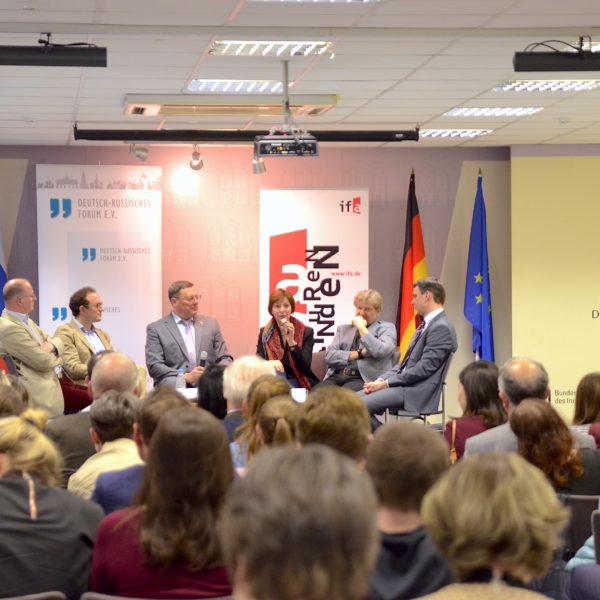 Beim dritten Moskauer Gespräch 2017 erörterten die deutschen Stiftungsvertreter die bevorstehende Bundestagswahl. / Peggy Lohse