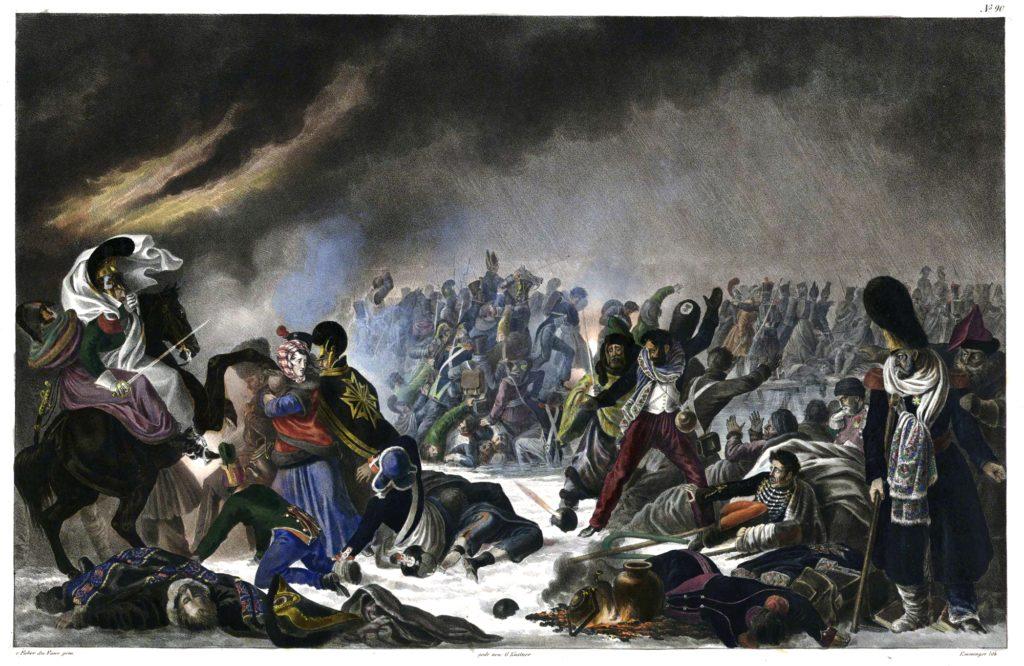 Die Bilder des württembergischen Malers Wilhelm von Faber du Faur illustrieren zahlreiche Publikationen zum Russlandfeldzug 1812. Hier ist der Übergang über die Beresina zu sehen.